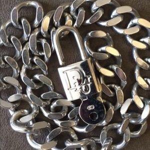 NEW Christian Dior Padlock Lock & Key Necklace